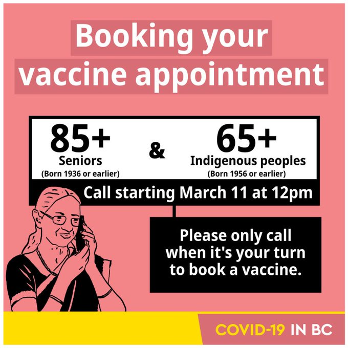 BC 85+ can book vaccine appointment