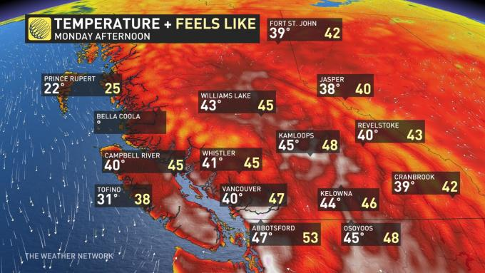 BC June 28 afternoon temperature by Weather Network