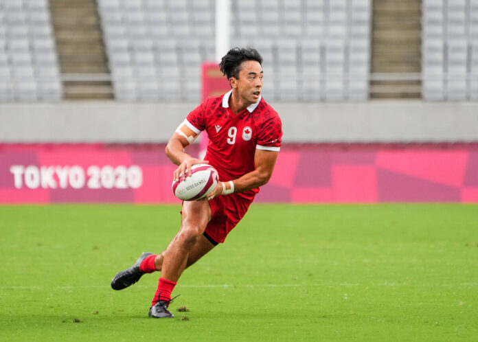 Team Canada Nathan Hirayama #9 plays the ball against Fiji during rugby 7s action during the Tokyo 2020 Olympic Games on Monday, July 26, 2021. (COC/Mark Blinch)
